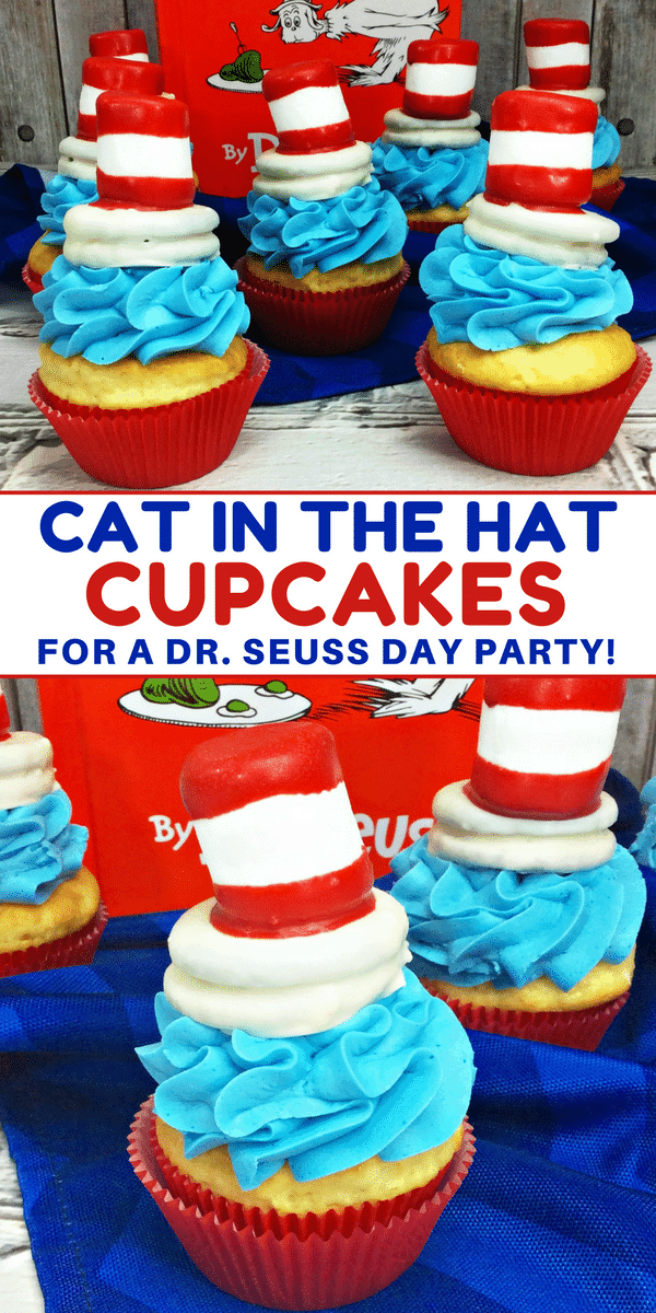 Cat in the Hat cupcakes are the perfect treat to make for a Dr. Seuss Day party or Dr. Seuss birthday party. When it comes to Dr. Suess Day ideas, these Cat in the Hat cupcakes take the cake – pun intended! Made using boxed cake mix and premade frosting, the only thing you really need to spend time on is the fun Cat and the Hat topper that sits on top of the cupcakes!