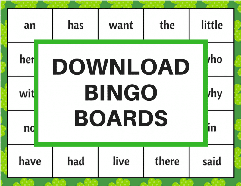 St. Patrick's Day Bingo is a fun and educational kids activity packed with 60 high frequency sight words (aka power words) and perfect to play in the classroom or at home. Download the free printable bingo boards, bingo markers, and flashcards, cut them out, and you will be ready to play the game.