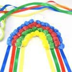 Hanging Cotton Ball Rainbow Craft for Kids