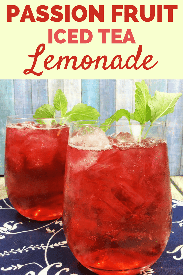 Iced Passion Fruit Tea Lemonade is so simple to make, it will leave you wondering why you haven't made this fruity iced tea yourself at home before. The combination of the sweet passion tea and the tart lemonade combine with a hint of vanilla for a deliciously refreshing beverage.