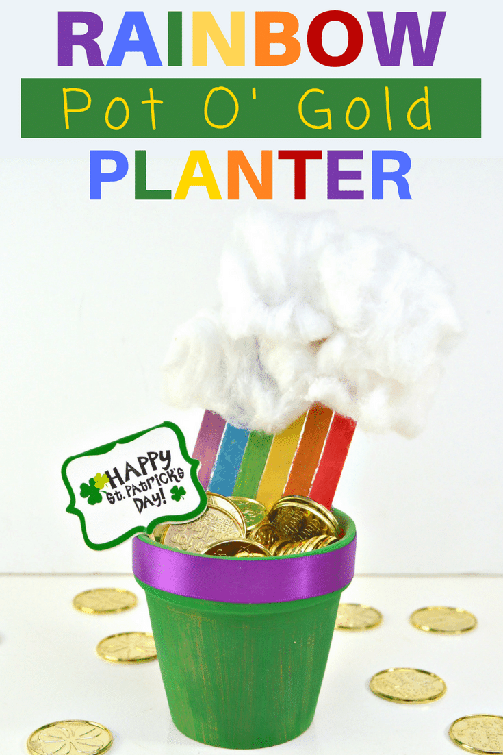 Want to make a fun DIY St. Patrick's Day Decoration for your home or classroom? This end of the rainbow pot of gold planter is the perfect homemade St. Patrick's Day decor idea! It would make a great St. Patrick's Day centerpiece for the table as well! #StPatricksDay #DIYCrafts #Rainbow #Planter #Crafting #Decorating #CraftsForKids #KidsCraft