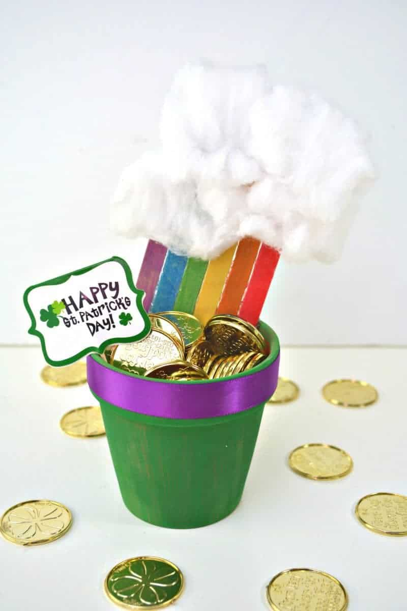 Rainbow Pot of Gold Planter St. Patrick's Day Decoration