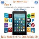 Amazon Kindle Fire 7 or $50 Amazon GC Giveaway (3/22 WW)