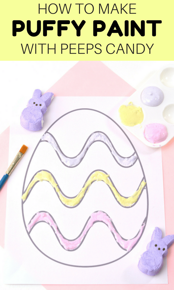 If you are looking for an easy DIY puffy paint recipe it doesn't get much easier than this 1-ingredient DIY Peeps Puffy Paint! This fun kids activity is perfect for Easter, or for after Easter to use up leftover Marshmallow Peeps candy.
