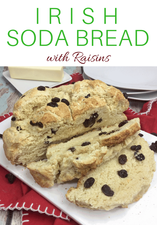 You will love this quick and easy Irish Soda Bread with Raisins recipe made with flour, baking soda, salt, sugar, egg, butter, buttermilk, and raisins for St. Patrick's Day or any time of year!