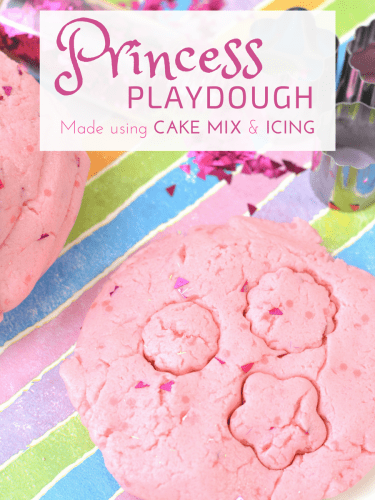 This glittery pink princess playdough recipe is perfect for your little princess! This easy homemade no cook playdough is made with cake mix, icing, food coloring, olive oil, and glitter. You could use edible glitter instead for a completely edible playdough recipe as well!