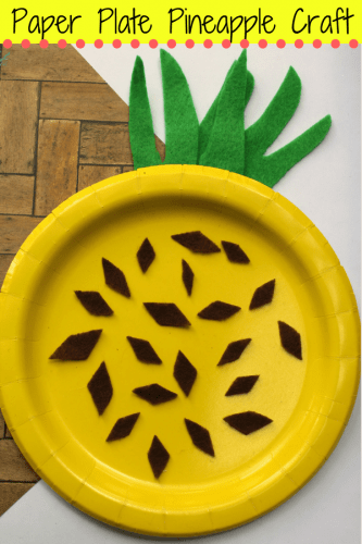A fun and easy summer craft for kids perfect for home or school. This paper plate pineapple craft is colorful, fun, and easy to make using craft felt or paper, a paper plate, and glue.
