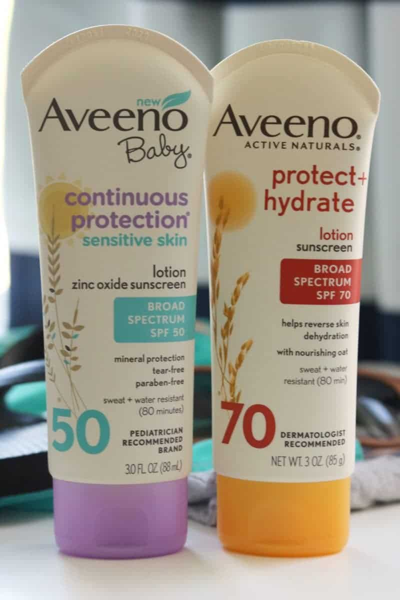 Aveeno Protect and Hydrate and Aveeno Baby Continuous Protection sunscreen