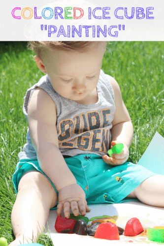 This colored ice play activity using ice cubes colored with drink mix makes for a  fun, low cost, and easy outdoor sensory activity for little ones.