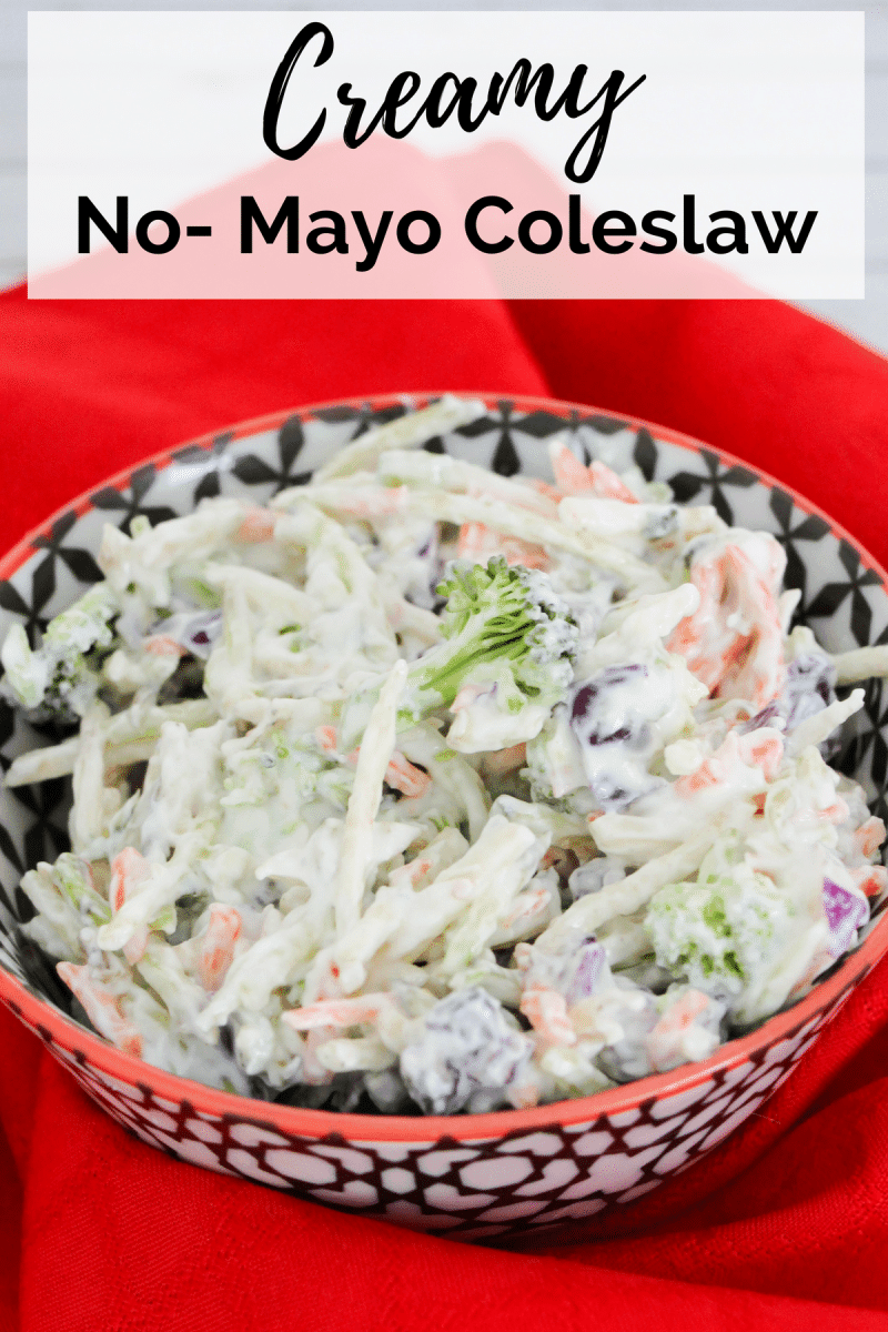 An easy, guilt-free, creamy no mayo coleslaw recipe that makes a great healthy side dish for summer barbecues.