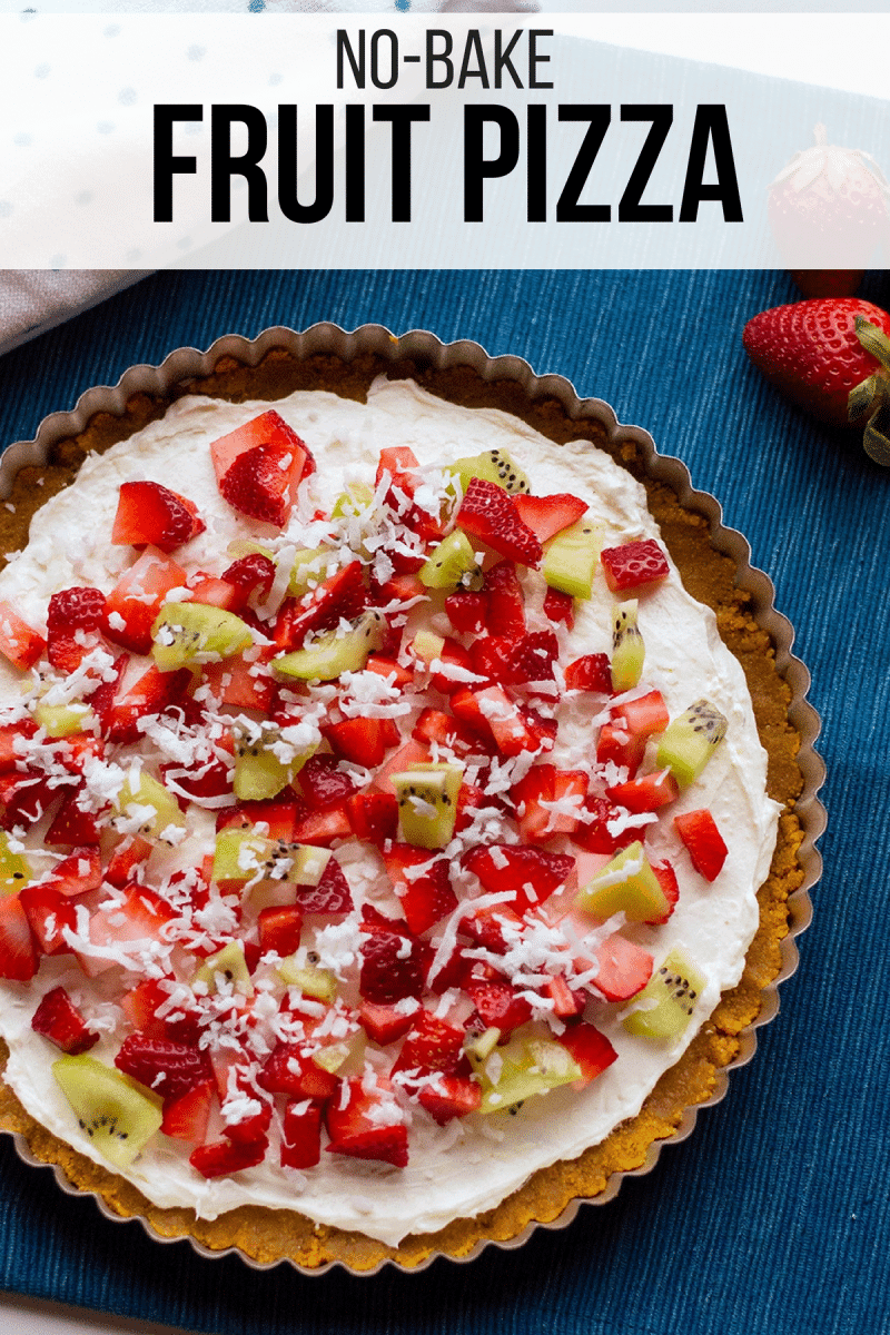 With cream cheese and fresh fruit on top of a homemade graham cracker crust, this no-bake fruit pizza recipe makes a perfect summer dessert.