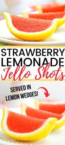 Strawberry Lemonade Jello Shots served in Lemon wedges