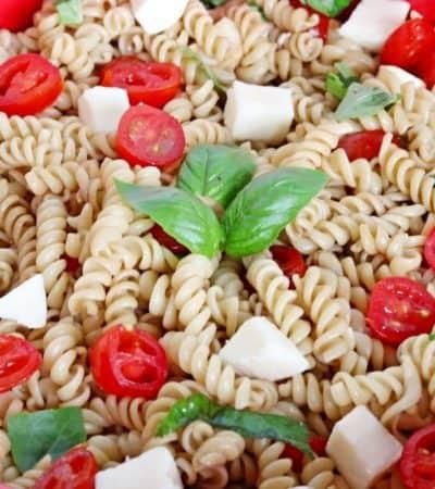 Easy Caprese Pasta Salad with Fresh Mozzarella