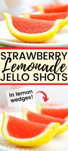 Strawberry Lemonade Jello Shots in Lemon wedges