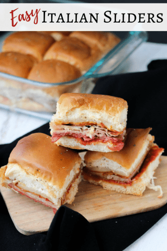 Packed with salami, pepperoni, prosciutto, mozzarella, tomato sauce, these tasty Italian sliders are an easy to make one-dish recipe.