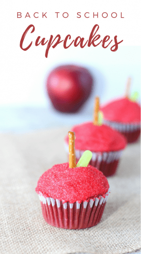 These easy-to-make apple cupcakes are a fun back to school treat that the kids and teachers will enjoy on the first day of school.