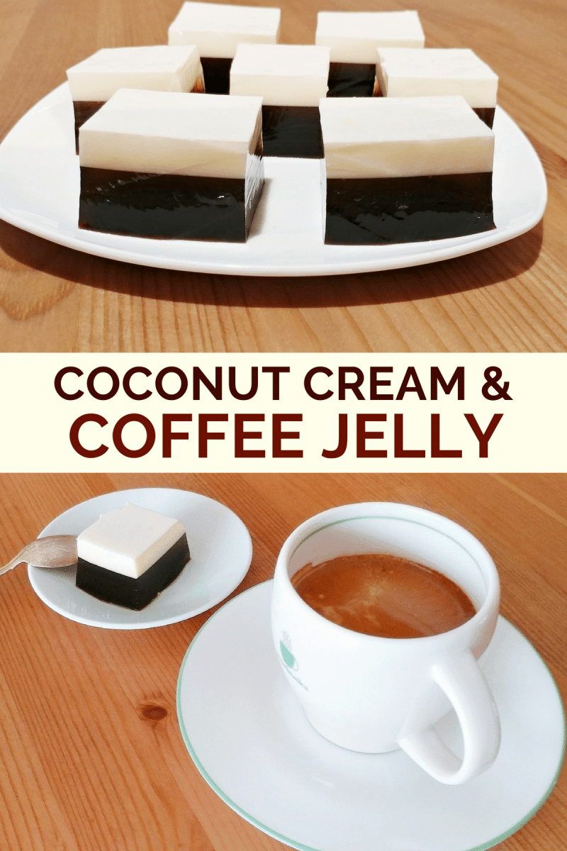A multi-layer coffee jelly recipe that combines a layer of coffee gelatin and a layer of coconut cream for a light and refreshing dessert.