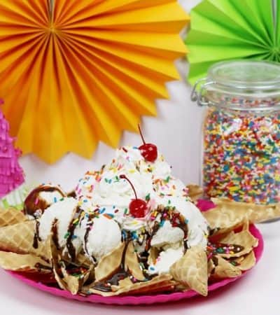 Ice cream nachos are a quick, easy, and indulging dessert nacho recipe that the whole family can enjoy together this summer.