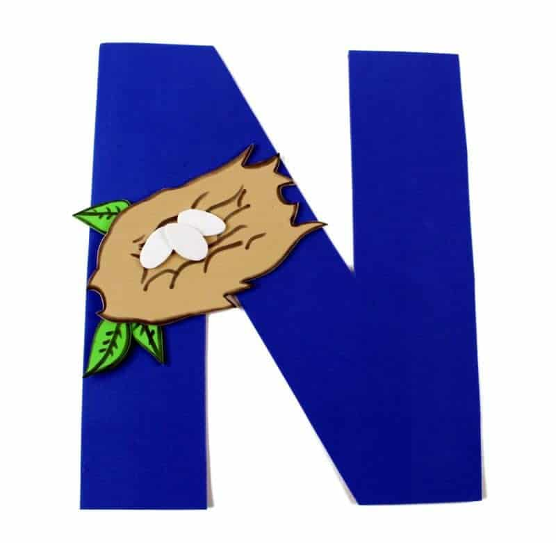 graphic regarding Letter N Printable named Letter N Craft With Printable N is For Nest Letter of