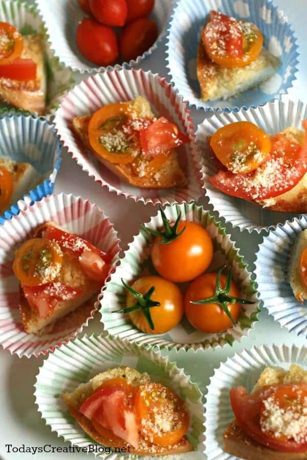 tomato parmesan bagel bites
