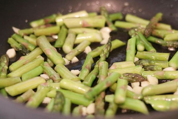 Asparagus, Garlic, and Olive Oil in Skillet