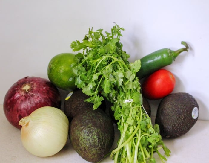 Homemade Guacamole Ingredients