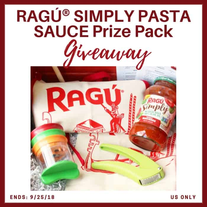 Enter for a chance to win a RAGÚ® SIMPLY PASTA SAUCE Prize Pack! Open to US only ends 9/25/18.