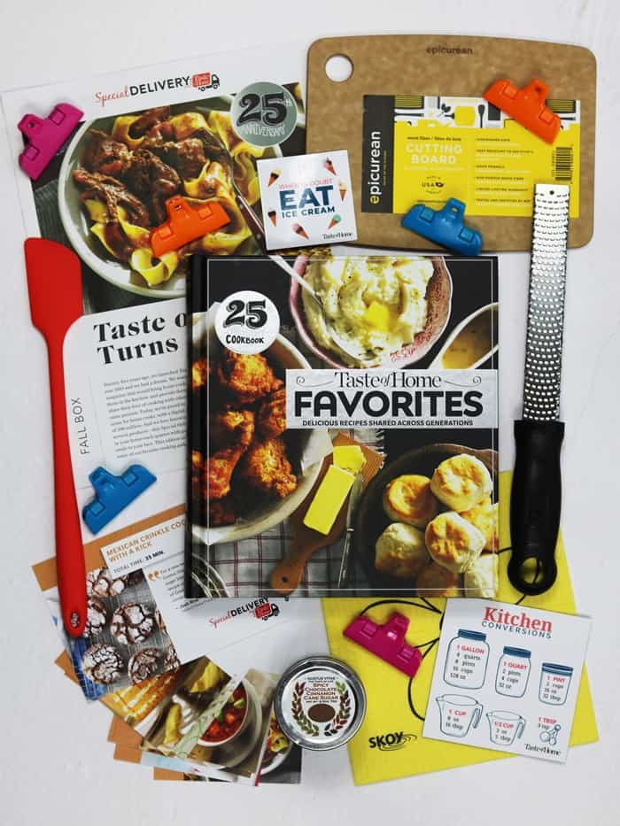 The Special Delivery box is packed with a variety of goodies hand selected from the Taste of Home test kitchen. Everything from spices and herbs to kitchen accessories are fair game for this quarterly subscription box.