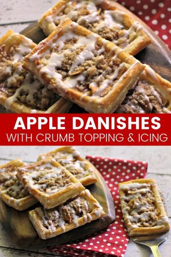 An apple danish recipe with a delicious crumb topping and drizzle of icing. This tasty apple crumb danish makes for a sweet breakfast or brunch option.