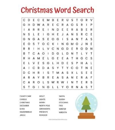 Free Christmas Word Search printable worksheet with 20 Christmas themed vocabulary words. Perfect for the classroom or as a fun Christmas activity at home.