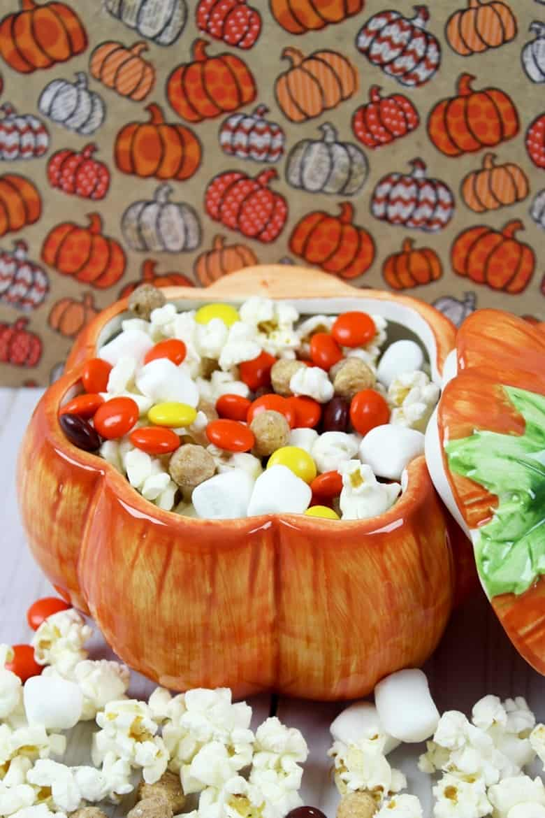 Snack mix in a pumpkin container