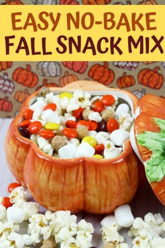 Fall snack mix in a pumpkin bowl
