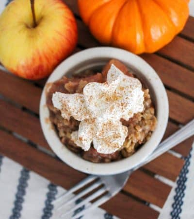 An easy apple pear crisp recipe made in the slow cooker. This warm and comforting Fall dessert is great on its own or served with vanilla ice cream. Yum!