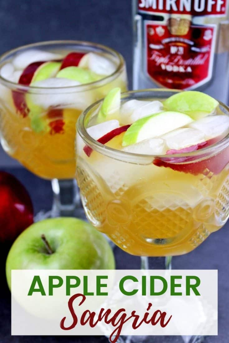 Easy apple cider sangria recipe made with white wine, apple cider, Sprite, vodka, and apples. This festive and refreshing apple cocktail is perfect for serving up at your holiday parties.
