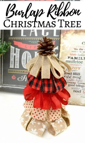 If you love rustic décor, you will absolutely adore this burlap ribbon Christmas tree craft. They are perfect for holiday decor or holiday gifting!