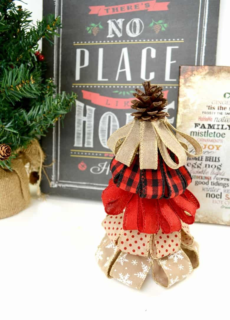 Burlap Ribbon Christmas Tree - A Rustic