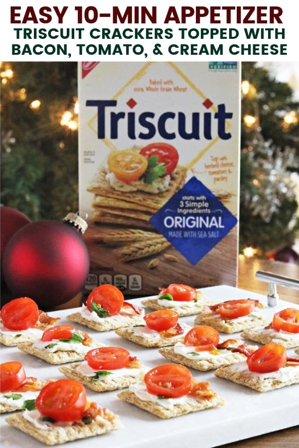 We top Triscuit crackers with cream cheese, bacon, and tomato for a quick and easy holiday appetizer. These savor appetizers take just 10 minutes to make!