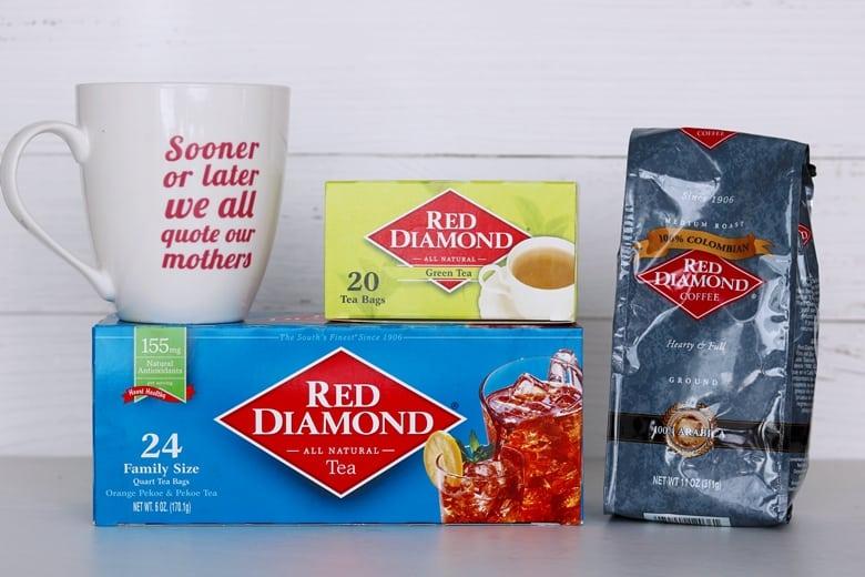 Red Diamond Green Tea, Red Diamond Black Tea, and Red Diamond Ground Colombian Coffee