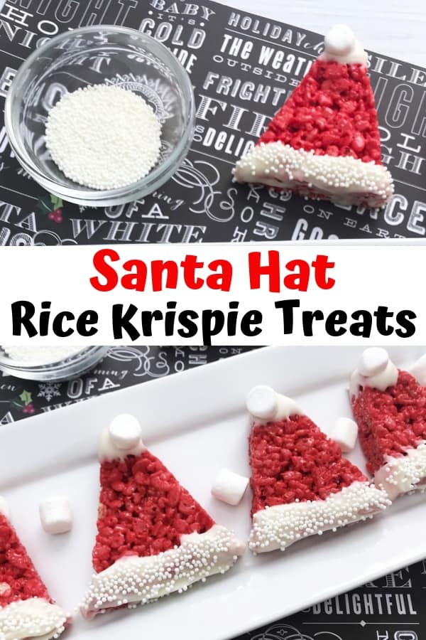 Santa Hat Rice Krispie Treats are easy to make for the kids this Christmas using a traditional Rice Krispies Treat recipe and just adding a few decorations!