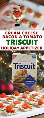 Top Triscuit crackers with cream cheese, bacon, and tomato for an easy holiday appetizer that takes just 10 minutes to prepare!
