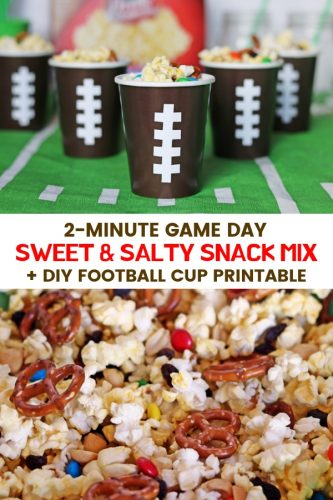 A no-bake sweet & salty snack mix made with popcorn, pretzels, raisins, chocolate, and peanuts. Served in DIY football cups, this easy snack mix is perfect for game day.