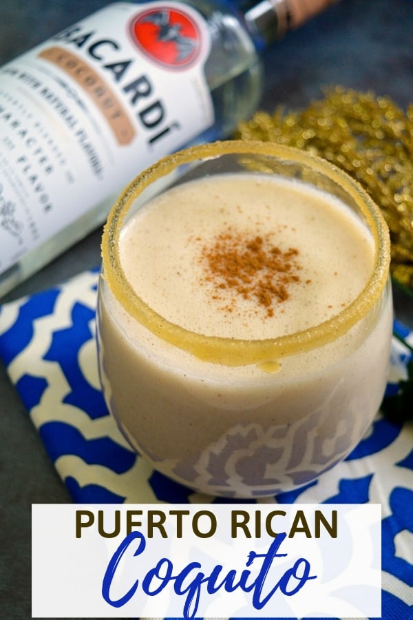 A rich and creamy, no-egg, coquito recipe made with rum and coconut milk.
