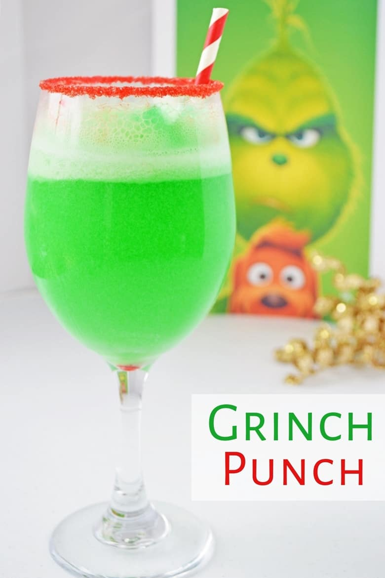 This small-batch Grinch Punch recipe made with Hawaiian Punch, Sprite and lime sherbet is a perfect drink for the kids on Christmas.
