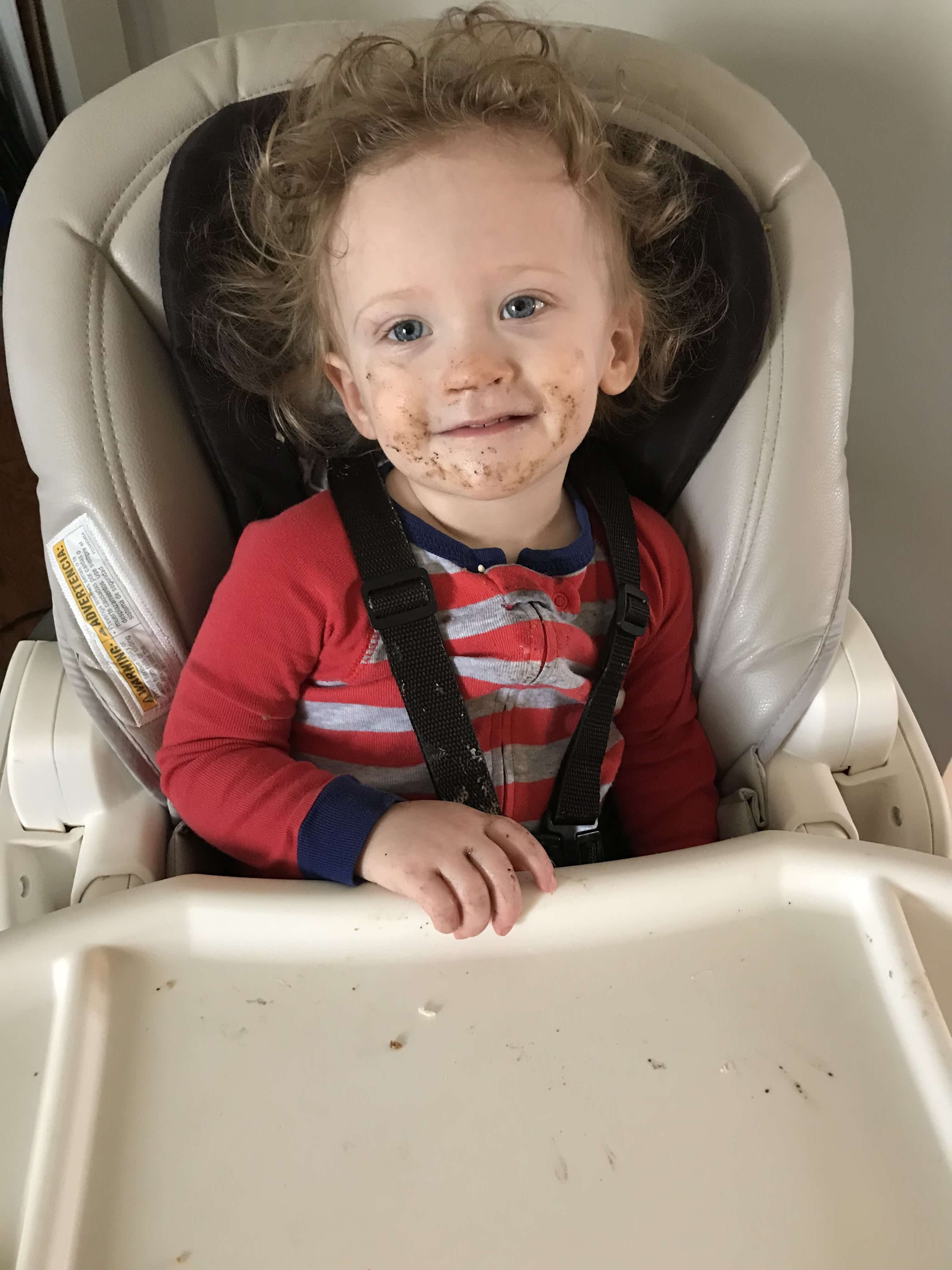 Messy baby after a meal