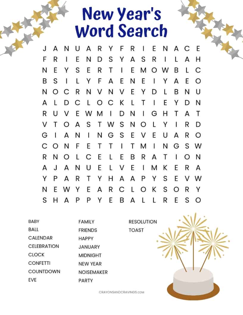 Free New Year's Word Search printable worksheet with 18 New Year's themed vocabulary words. A fun word find activity for kids and adults alike!