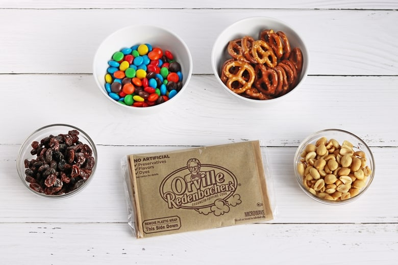 Orville Redenbacher's Popcorn bag, bowl of chocolate candies, bowl of peanuts, bowl of pretzels, bowl of raisins