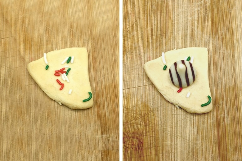 On left: a quarter of biscuit dough flatted and sprinkled with Christma sprinkles. On right: the same as on left but with Hershey Kiss added on top.