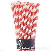 Paper Drinking Straws, Striped - Red