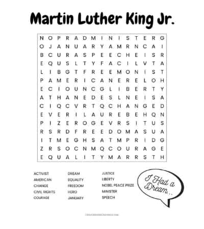 This Martin Luther King Jr. word search printable worksheet with 15 words to find is a fun and educational MLK Day activity for the classroom or at home.