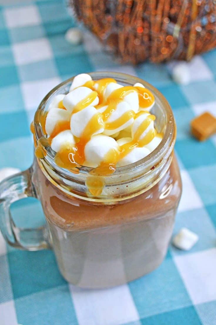 A creamy and delicious salted caramel hot chocolate recipe that you can make right at home in your slow cooker.